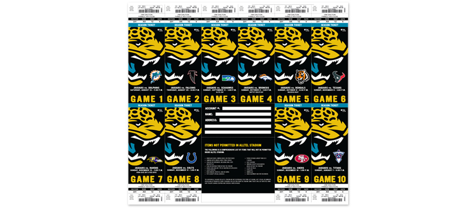 ... Jacksonville Jaguars 2005 Season Tickets