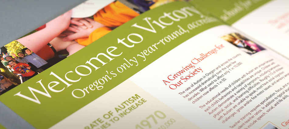 The Victory Academy brochure close up